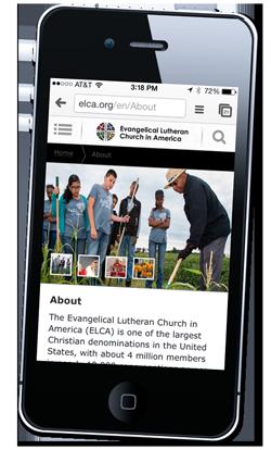 The new ELCA website- mobile version